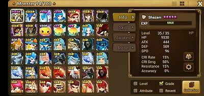G:112 Europe Summoners War Starter Account with Shazam(are)