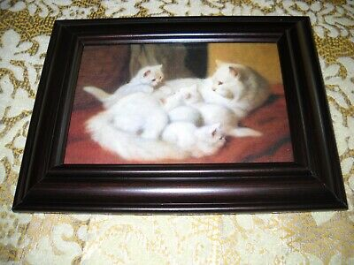 MOTHER CAT 4 KITTENS 3 X 5 SMALL brown framed animal picture Victorian art print