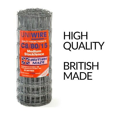 BRITISH MADE, HIGH QUALITY Stock Fence -C8/80/15 - 25 meters