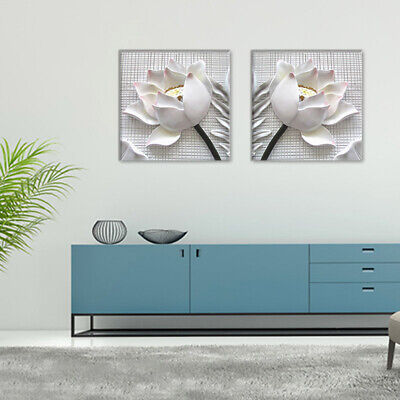 2 x White Rose Flower Wall Art Pictures Canvas Painting Prints Artwork Decor