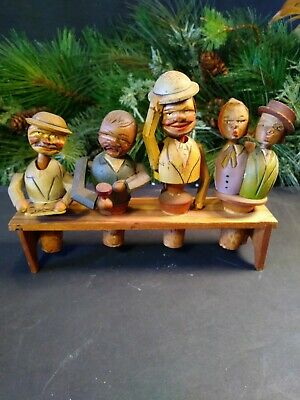 4 Vintage Hand Carved Wood Puppet Cork Wine Bottle Stoppers Anri~FREE SHIPPING