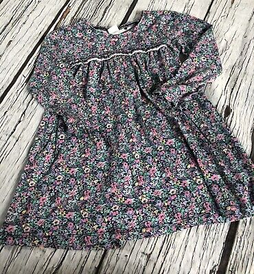 Girls 5-6 Years Next Blue Ditsy Floral Long Sleeved Tunic Dress