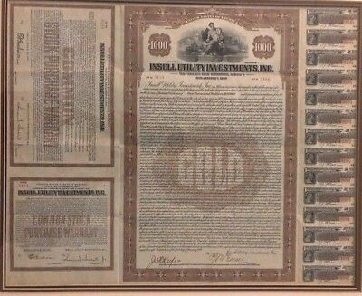 Vintage Insull Utility Gold Bond $1000 #3184 1/1/1940, Collectible (D036)