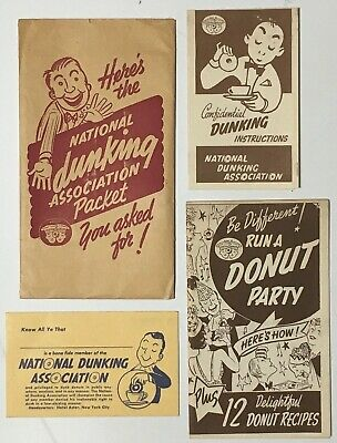 ca.1941 NATIONAL DUNKING ASSOCIATION Dunking Instructions, Membership Card +more