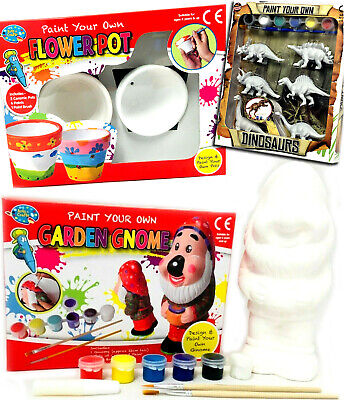 Paint Your Own Garden Gnome Flower Pot Dinosaurs Craft Kids Painting Home School