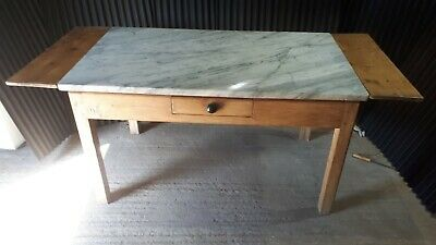 Rare Italian carrara marble and pine pasta table antique kitchen dining table