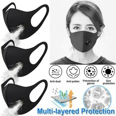 3pc Reusable Anti Dust PM2.5 Face Mask Carbon Filter Multi Layer