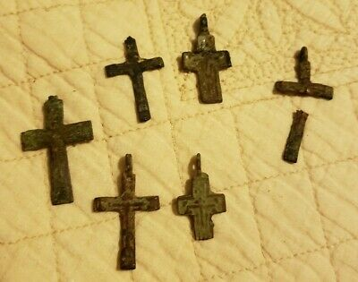 Nice Lot Ancient Medieval Cross Pendant Lot Bronze Iron?