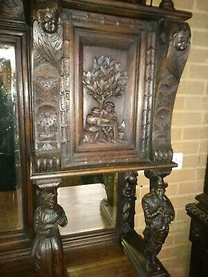 Stunning Quality Victorian Carved Oak Sideboard With Tavern Figures