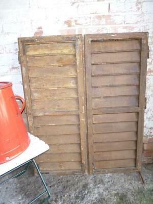 VINTAGE WOODEN SHUTTERS WINDOW  ANTIQUE FRENCH 114 x 93 cm   FREE post