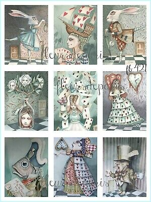 Vintage Alice in Wonderland MAD Hatter Tea Party Quote 4 Prints on Fabric FB 536