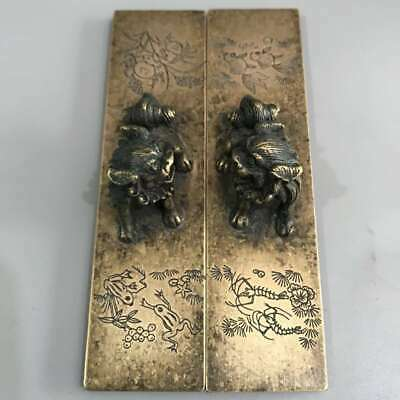 Collect China Bronze Lion Frog Fish Shrimp Crab Paper Weight (library Supplies)