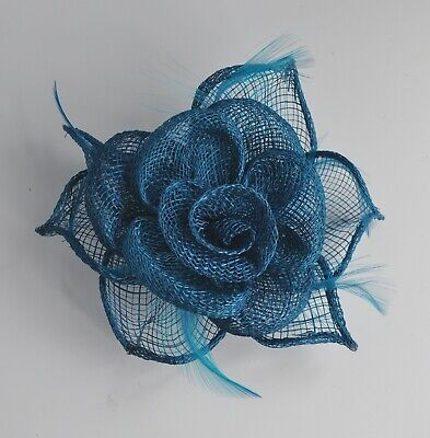 Peacock/teal blue small sinamay & feather rose fascinator hair clip/corsage. UK