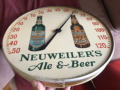"""Vintage Advertising Neuweiler's Ale Beer 12"""" Round Sign Thermometer Allentown PA"""