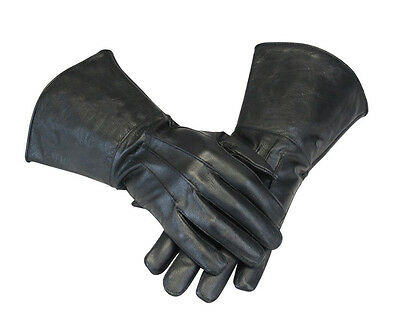 Men's Medieval Renaissance Gauntlet cosplay Leather Gloves Long Arm Cuff