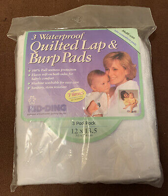 3 Waterproof Quilted Lap & Burp Pads 12 X 13.5