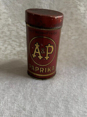 Vintage A&P Paprika Tin 100% Factory.  Atlantic-Pacific Tea Co.