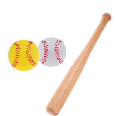 54cm Baseball Bat Rounder Softball Heavy Duty Wooden Bat Stick 2pcs PU Foam Ball