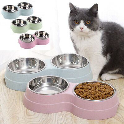 Dog Cat Double Bowl Puppy Food Water Feeder Stainless Steel Pets Drinking Dish