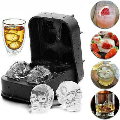 Ice Cube Tray Flexible Silicone Mold Silicone Whiskey 3D Skull Mould  DIY