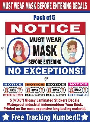 """DOOR STICKER DECAL HORIZONTAL - MUST WEAR MASK ENTERING - COVID - 6X4""""(5pack) 19"""