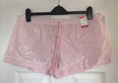 Primark Womens Pink Striped Lounge Shorts Size Large L 14-16 BNWT