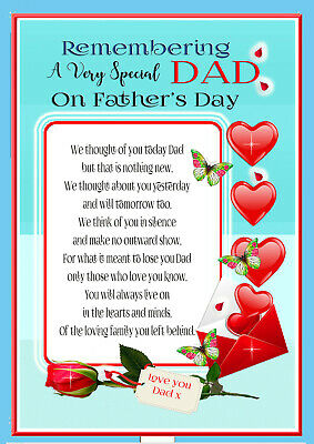 Father's Day Dad  Memorial Rembrance Bereavement Graveside Keepsake  & Holder 5