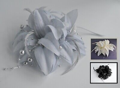Fabric, pearl & feather flower fascinator hair clip/corsage. Wedding/races.UK