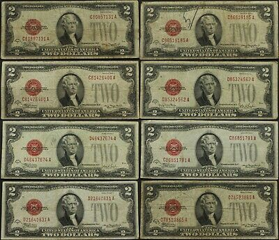 $2 1928 TWO DOLLAR Red Seal OLD US Note Currency D, F, G