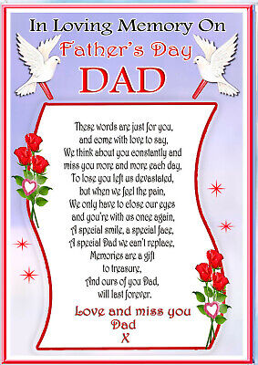 Father's Day Dad  Memorial Remembrance Bereavement Graveside Keepsake & Holder 7