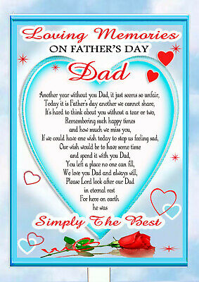 Father's Day Dad  Memorial Remembrance Bereavement Graveside Keepsake & Holder 8