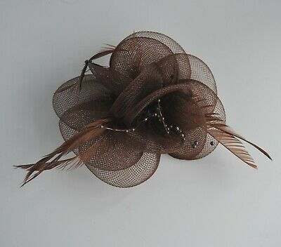 Net, pearls & feather flower small fascinator hair clip/corsage. Wedding/races