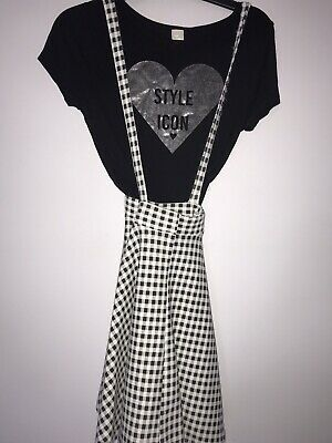 Girls Outfit TU Black White Skater Skirt T Shirt Age 8