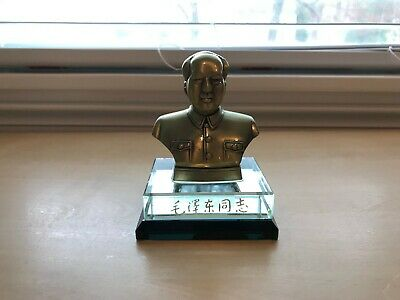 Small Mao Zedong Statue, Bronze Chinese Antique with Glass Base