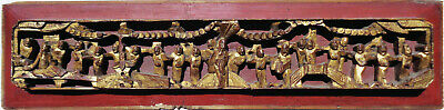 Antique CHINESE figural HIGH RELIEF wood PANEL gold RED 25 inches