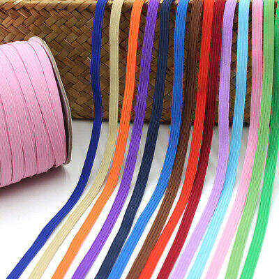 6mm Flat Elastic Band Stretch Cord Rope Costume DIY Woven Sewing Craft Trouser