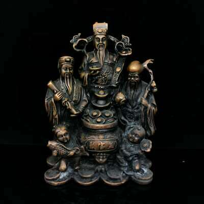 "6.7"" Collection Chinese Bronze Three Gods Fu Lu Shou Supernatural Being Statue"