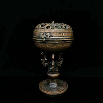 Collection China Qing Dynasty Bronze Chi Dragon High Legs Incense Burner Censer