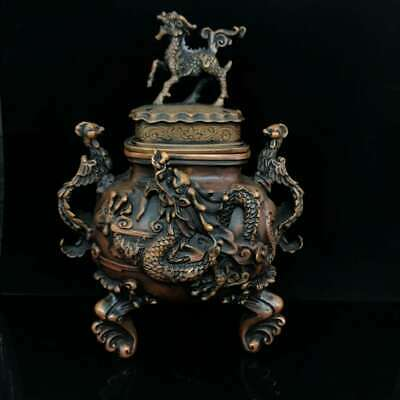 Collect China Qing Dynasty Bronze Kylin Dragon and Phoenix Incense Burner Censer