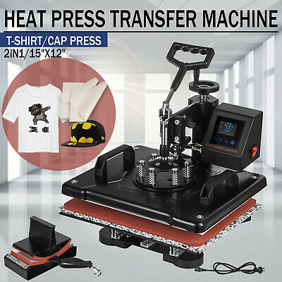 12x15'' 2 in 1 Heat Press Machine Transfer Sublimation T-Shirt Hat Led Display