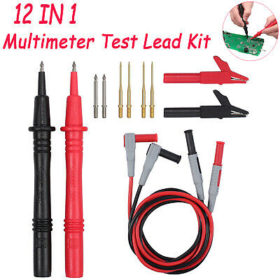 Multi Test Leads 12-in-1 Kit Electrical Multimeter Test Lead Alligator Clips UK