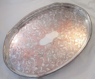 A Good Vintage Silver Plated Tray with Galleried Edge