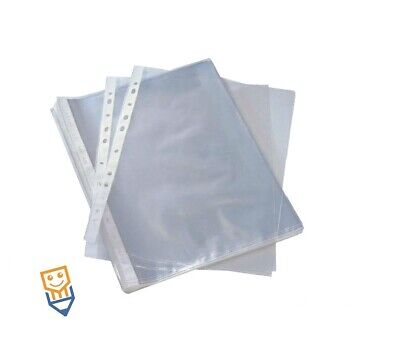 100 Punched Pockets A4 CLEAR PLASTIC Filing Wallets PROTECTIVE SLEEVES 11 HOLE