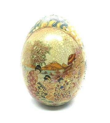 ROYAL SATSUMA Japan Collectible hand-painted porcelain egg - Ladies in Garden