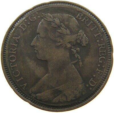GREAT BRITAIN HALF PENNY VICTORIA ONE SIDED CARVED #t100 431