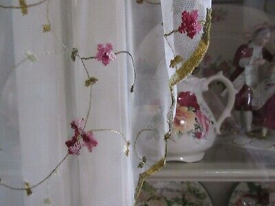NEW Antique Heirloom Style Swag Curtain Sheer Pink Embroidered Roses w/Green