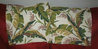 Nice Set of 2 (two) Vintage Barkcloth Pillow Slips/Covers/ Shams Pretty Leaves