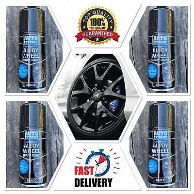 4 x BLACK ALLOY WHEEL SPRAY CAN RESTORER AUTO PAINT CAR BIKE 200ML