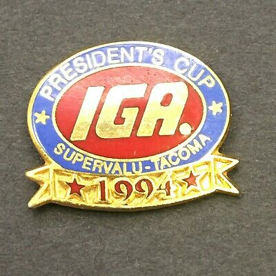 """Vintage IGA Grocery Store /""""Beef Roundup/"""" Cowboy Sheriff Star Pin Back Badge"""