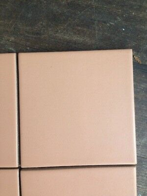 """20 Vntg pink ceramic wall tiles 3 7/8"""" Sq. Dirty Peach Pink Matte New Old Stock"""